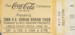 Lawlor Arena Reno NV (USA) ticket stub wikipedia duran duran 1984 tour 1.jpg