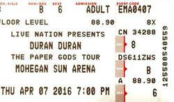 Mohegan Sun Arena Uncasville CT USA wikipedia duran duran com ticket stub.jpg
