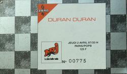 Ticket Duran Duran ticket stub 2 from Paris 2 April 1987 wikipedia.png