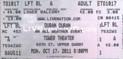 Ticket 17 oct 2011 tower theater duran duran concert show.png