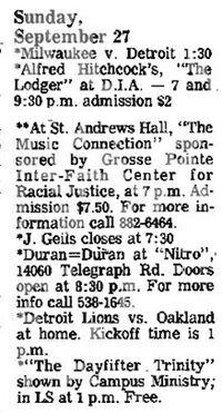 Date 09 - 27 - 1981Tour Duran Duran Venue Nitro Nitro, 14060 Telegraph Road, Redford, MI, USA wikipedia.jpg
