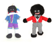 On the left is a black pete ragdoll and to the right is a golliwog doll, which is an acknowledged racist depiction of black people. The two dolls looks similar