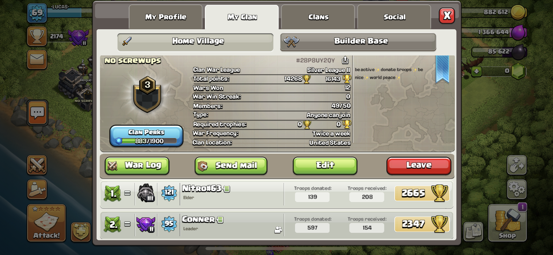 join my clan lots of donations. And everyone is included in war!