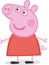 Peppa Pig in her typical red dress