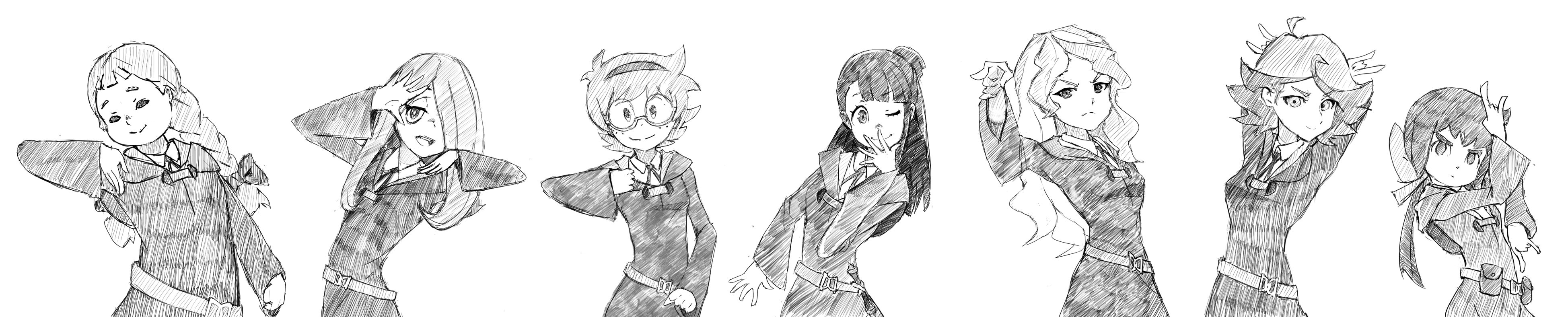 LWA characters doing poses from Jojo's Bizarre Adventure!