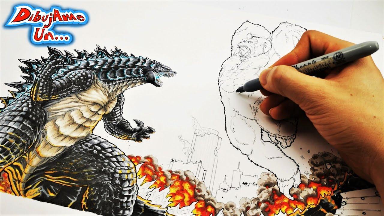 El Dibujo más épico: GODZILLA vs KONG película 2021   Drawing Godzilla Vs Kong battle   DibujAme Un