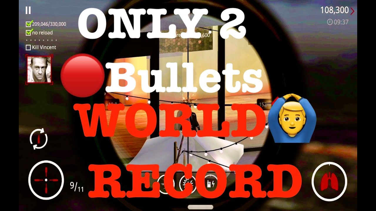 Hitman sniper: Score 3,30,000 in 2 bullets 🔴world record🤯 and kill Vincent REAL