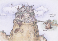 An early concept of Dungeon Man, with an entire castle on his head