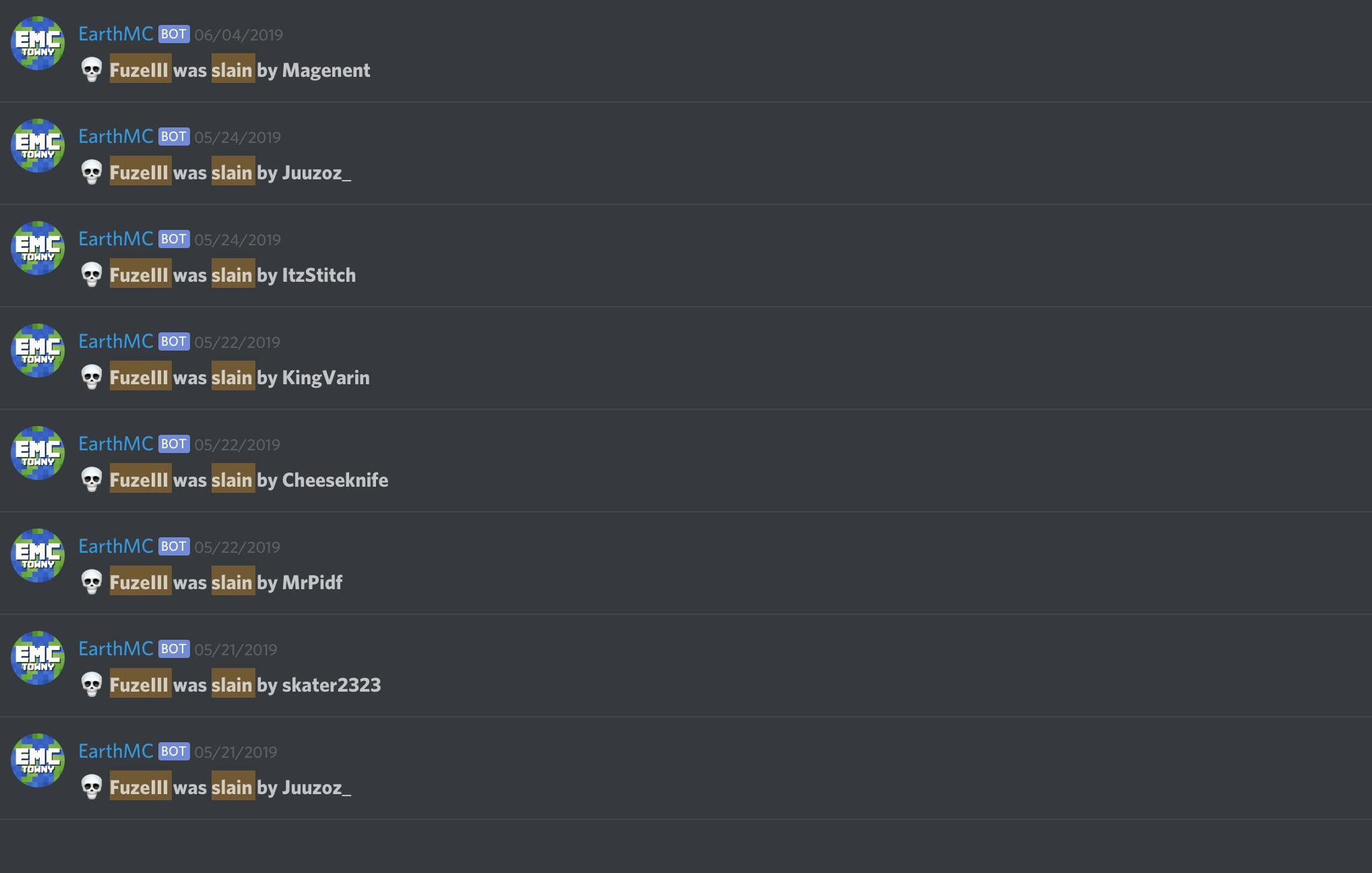 List of people that have killed FuzeIII