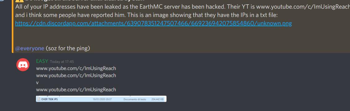 Hacking of EarthMC