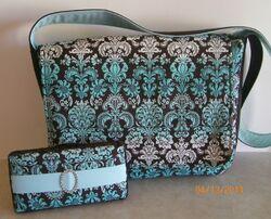 Sew Bella Diaper Bag with matching Diaper Wipe