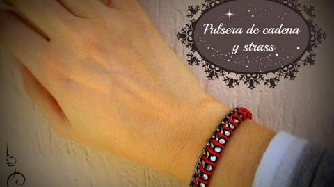 DIY Pulsera de cadena y strass Rhinestone and chain bracelet