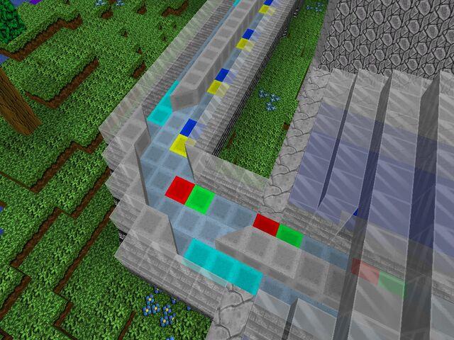 Two bidirectional lanes go around a corner