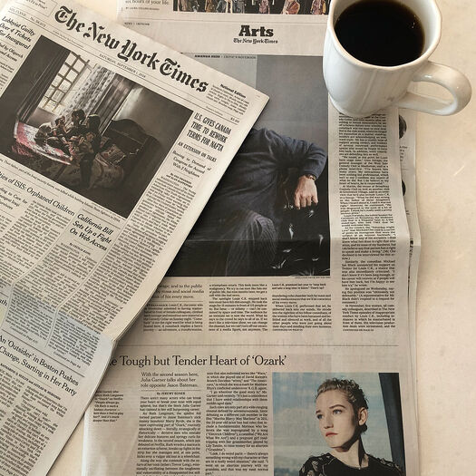 "Julia Garner 🐰 on Instagram: ""Today's paper! Thank you @nytimes for the article. Talking all things @ozark! I'm a native New Yorker so this is very exciting! 📰☕️♥️"""