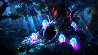 ANE Drzewo z dziuplą-noc