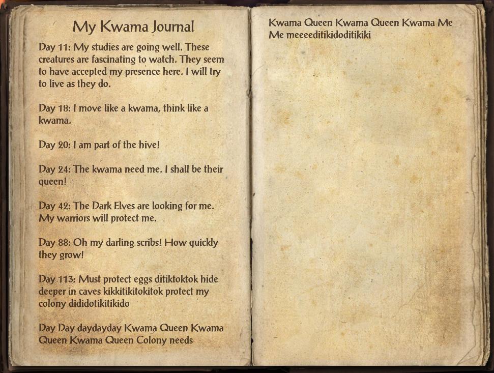 My Kwama Journal