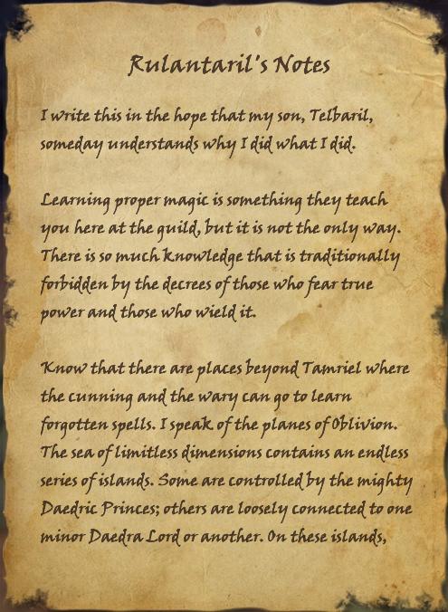 Rulantaril's Notes