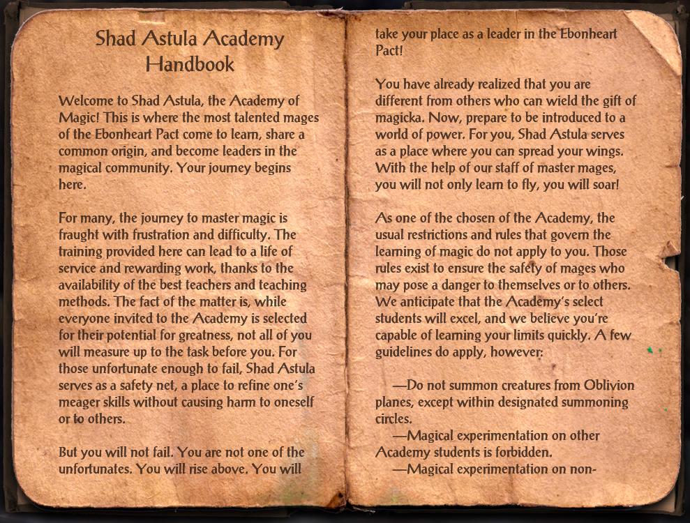 Shad Astula Academy Handbook