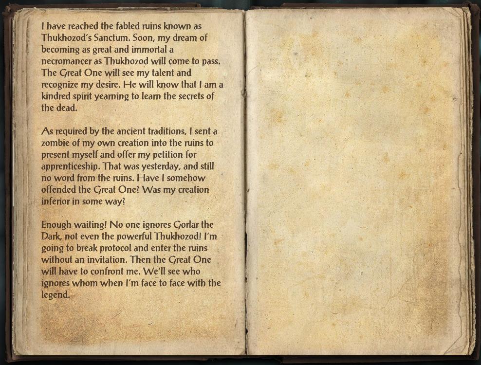 Gorlar's Journal, Part One