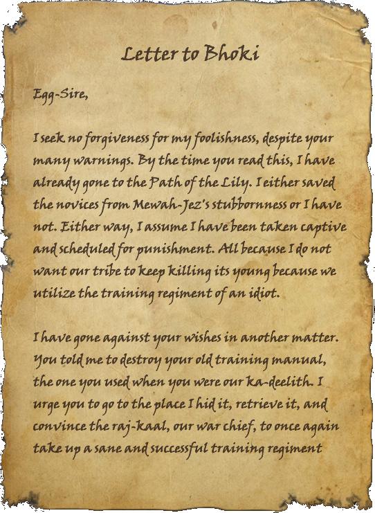 Letter to Bhoki
