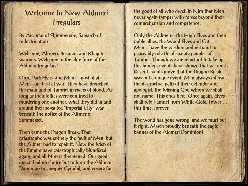 Welcome to New Aldmeri Irregulars