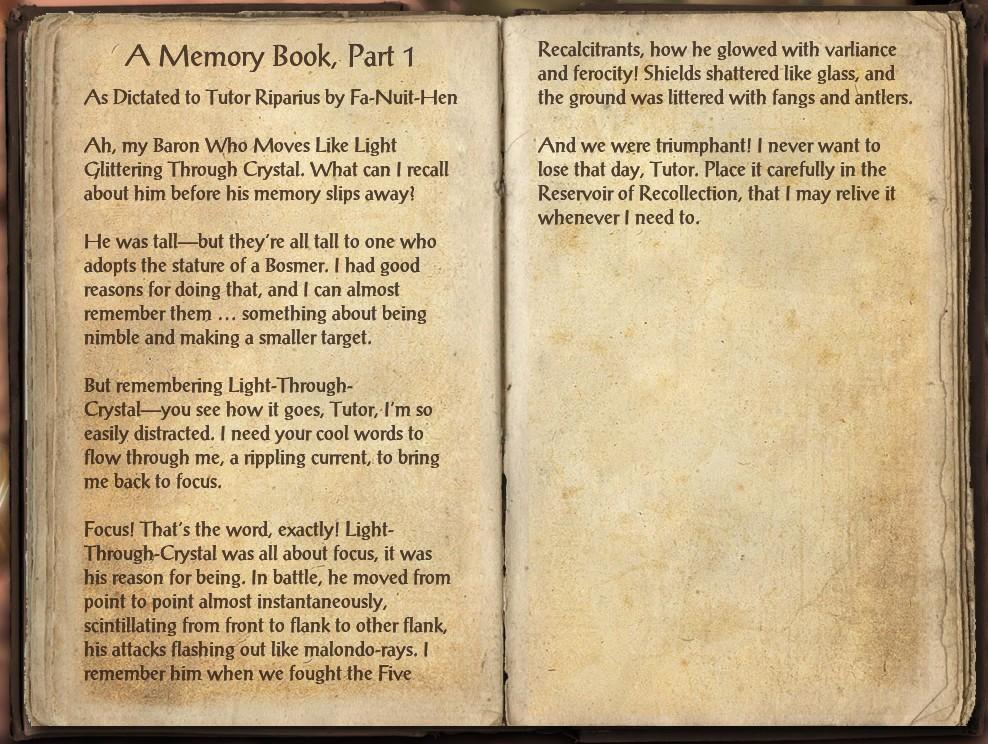 A Memory Book, Part 1