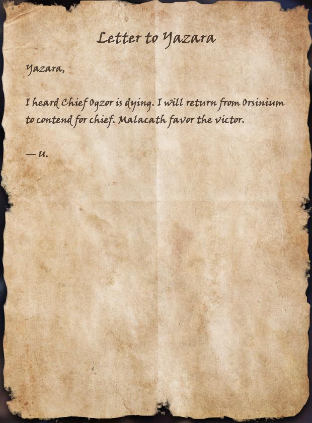 Letter to Yazara