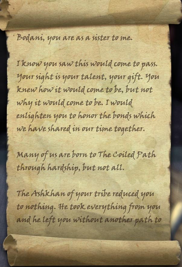Letter to Bodani
