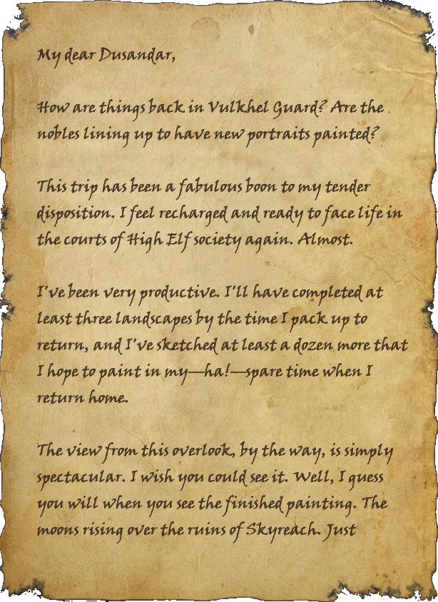 Letter to Dusandar