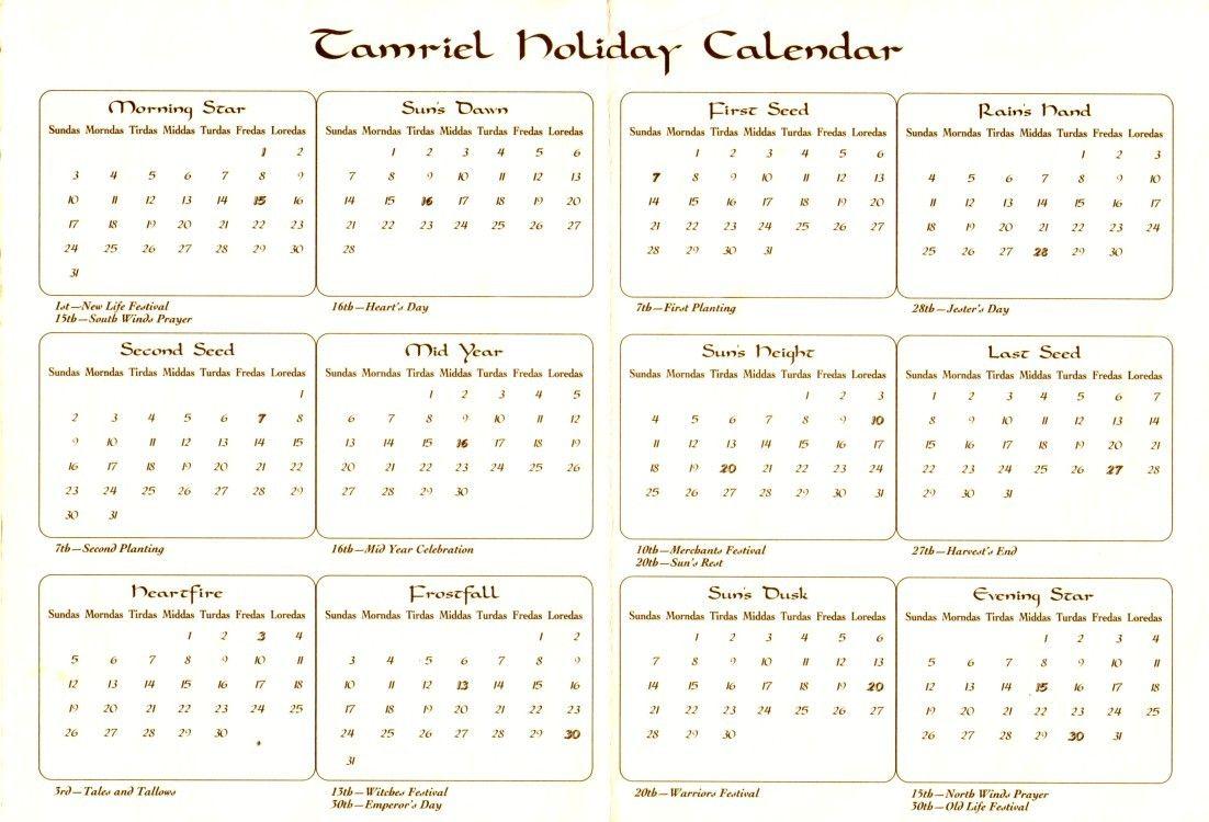 Календарь Тамриэля