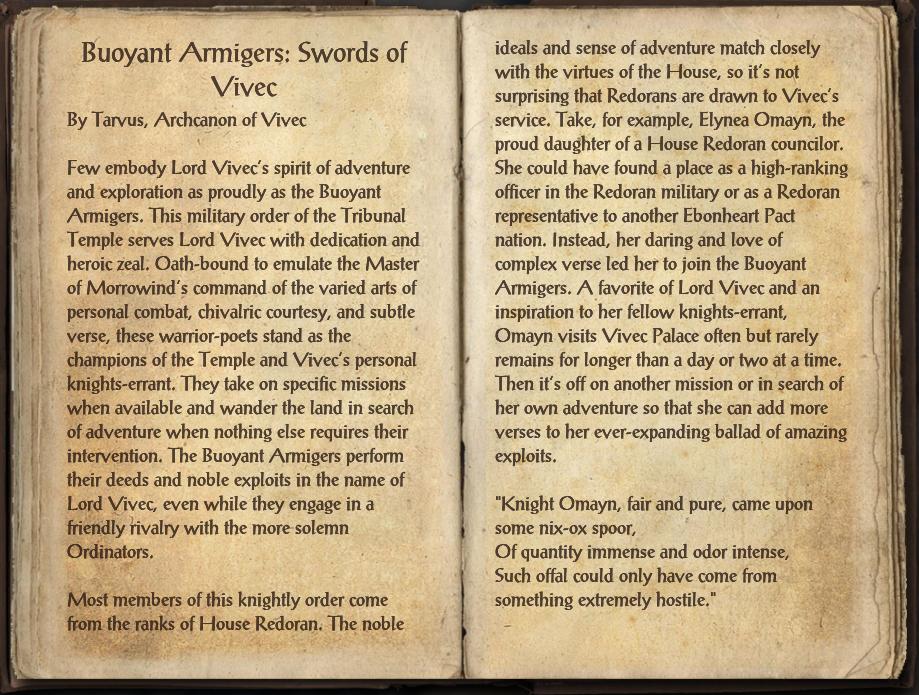 Buoyant Armigers: Swords of Vivec