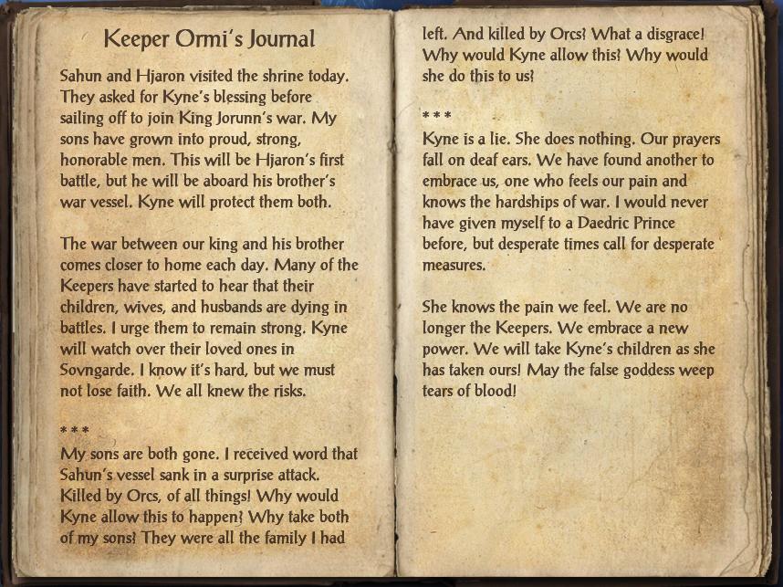 Keeper Ormi's Journal