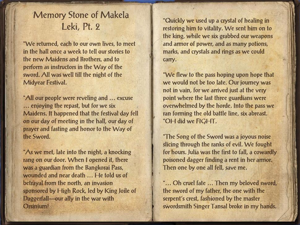 Memory Stone of Makela Leki, Pt. 2