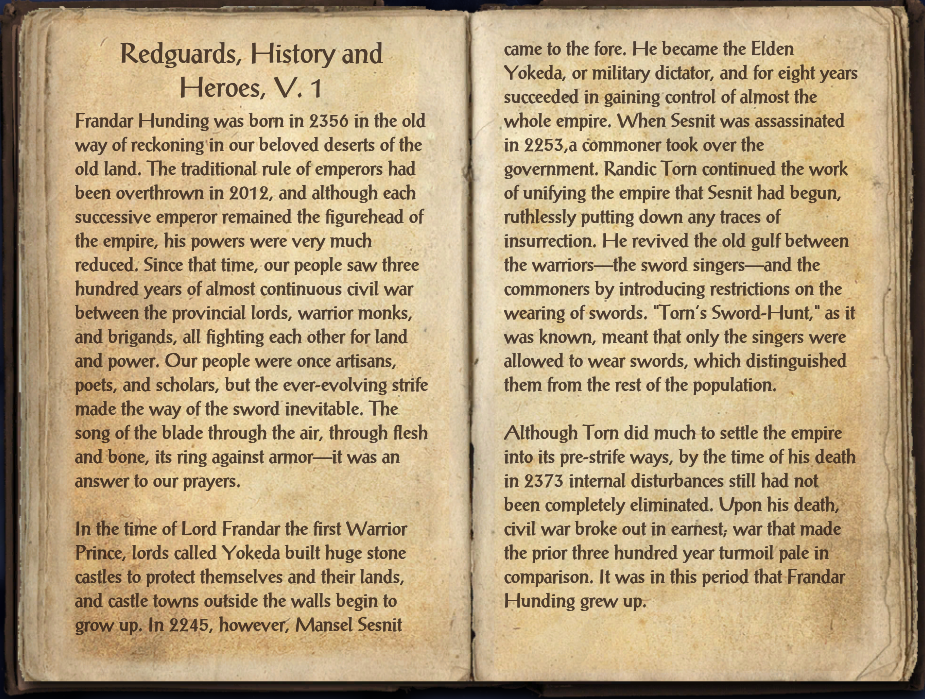 Redguards, History and Heroes, V. 1