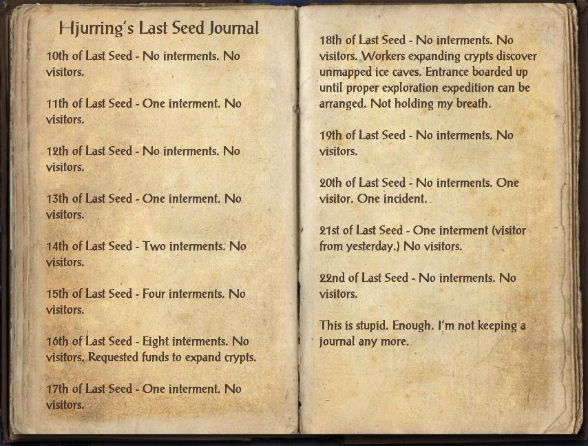 Hjurring's Last Seed Journal