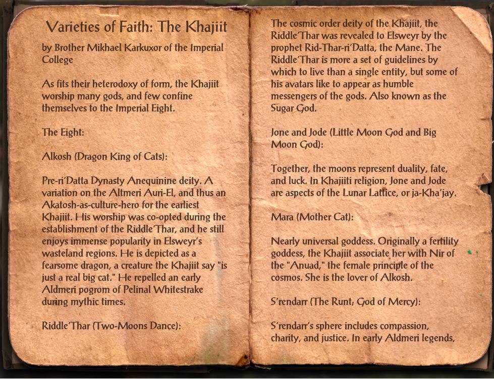 Varieties of Faith: The Khajiit