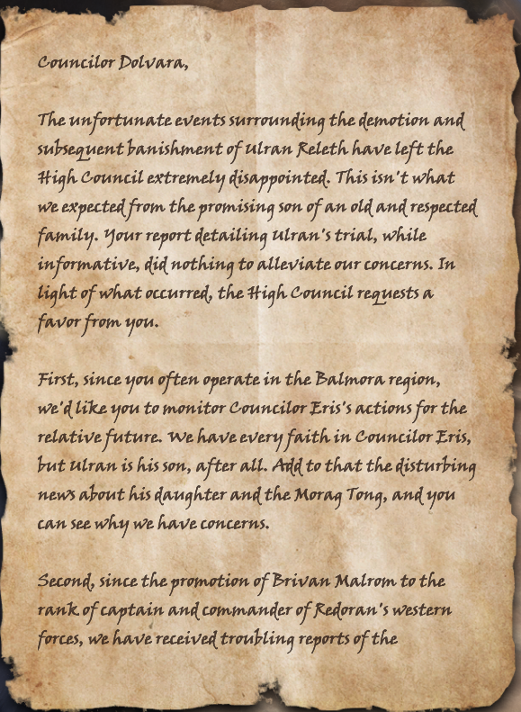Letter to Councilor Dolvara