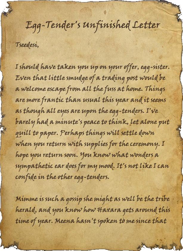 Egg-Tender's Unfinished Letter