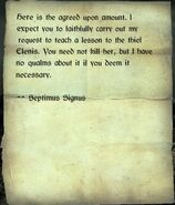 Wanted note from Septimus Signus