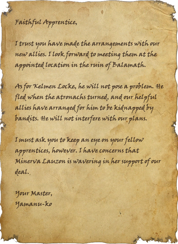 Yamanu-ko's Letter to Her Apprentice