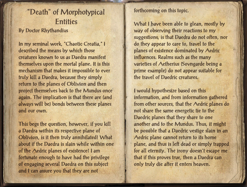 """""""Death"""" of Morphotypical Entities"""