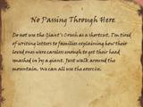 No Passing Through Here