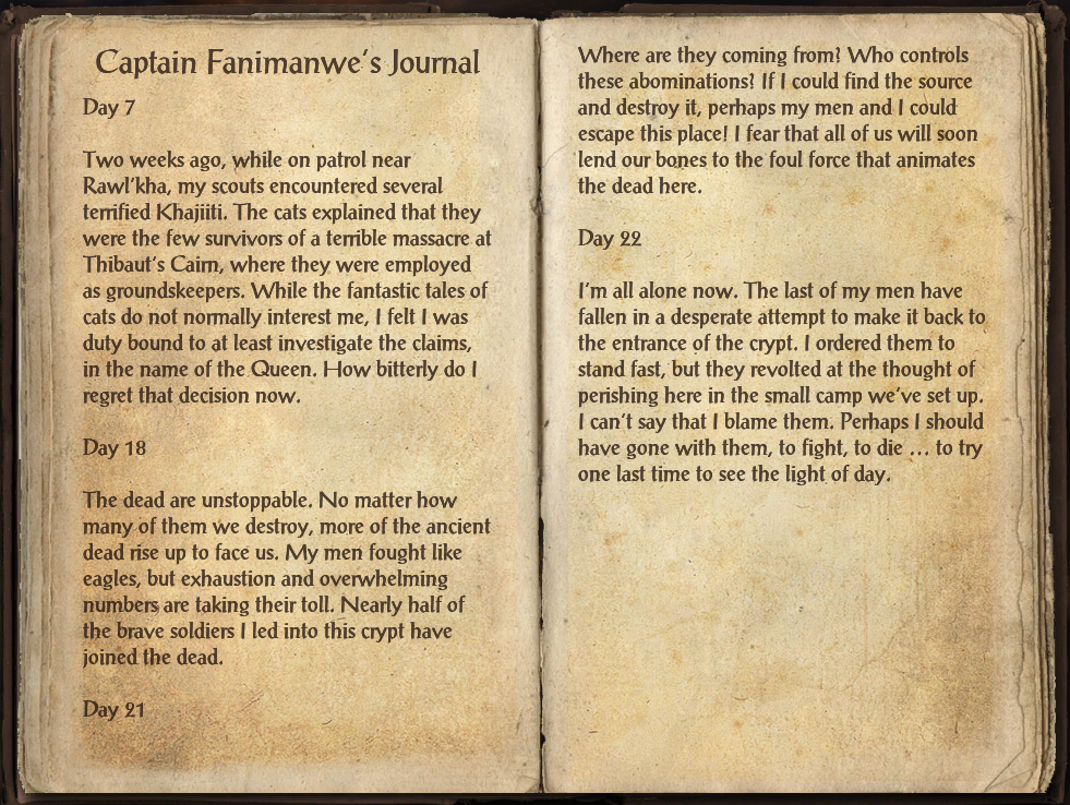 Captain Fanimanwe's Journal