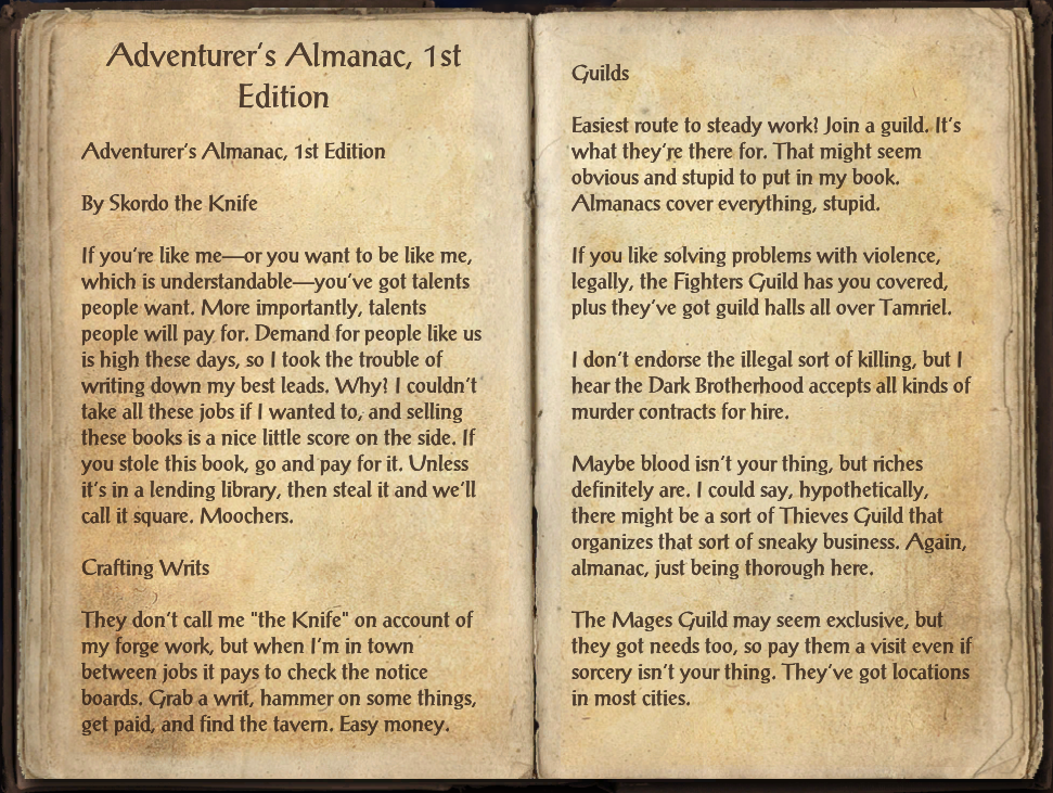 Adventurer's Almanac, 1st Edition