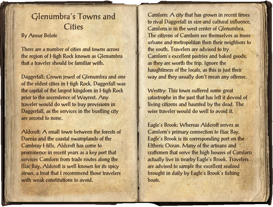 Glenumbra's Towns and Cities