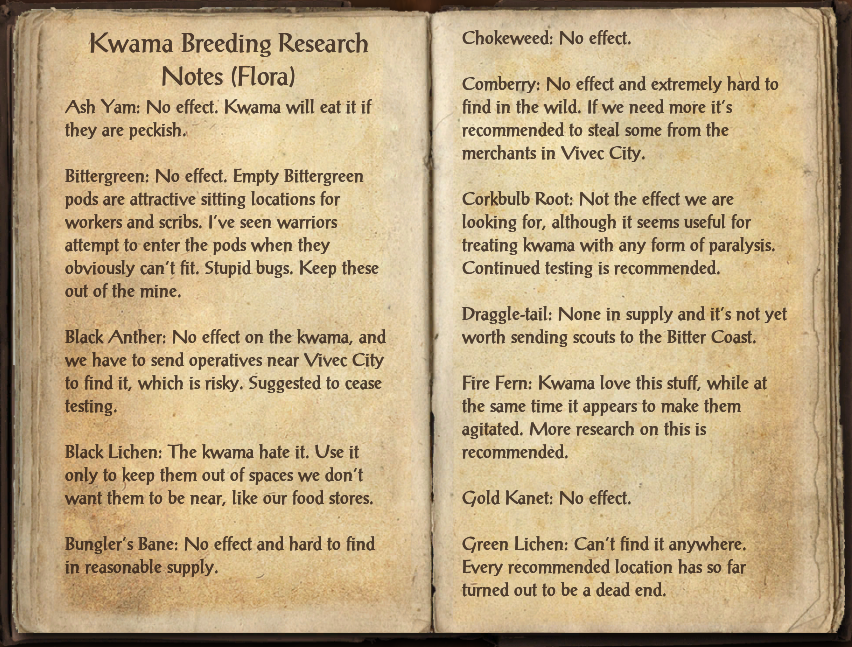Kwama Breeding Research Notes (Flora)