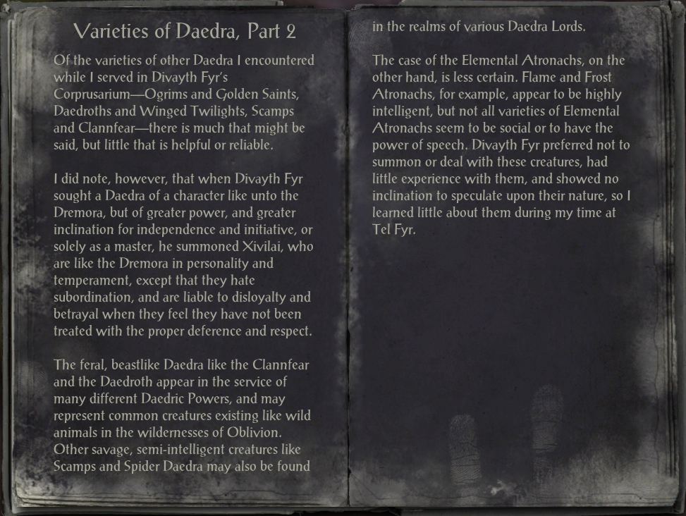Varieties of Daedra, Part 2
