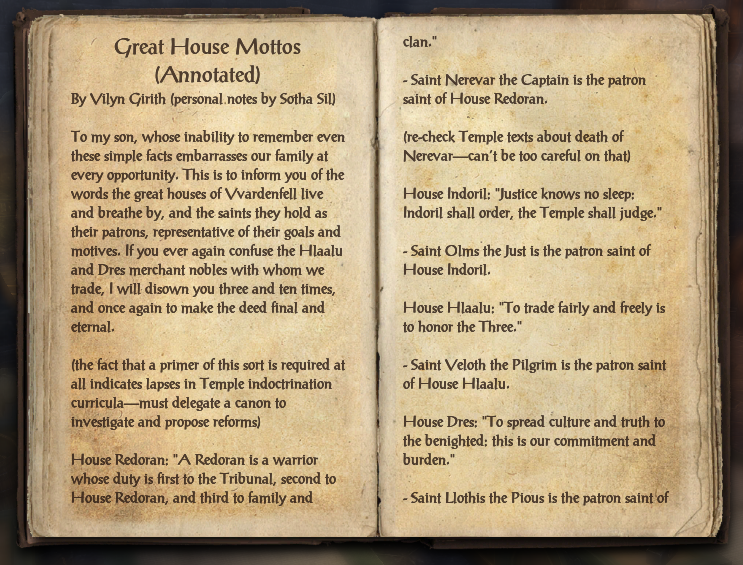 Great House Mottos (Annotated)