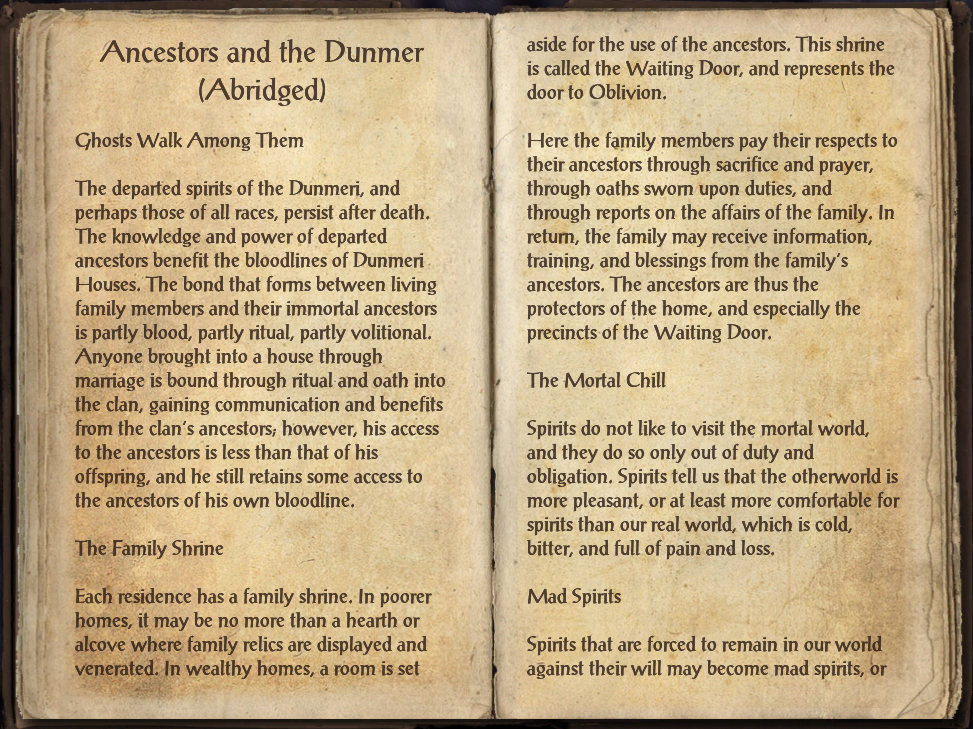 Ancestors and the Dunmer (Abridged)