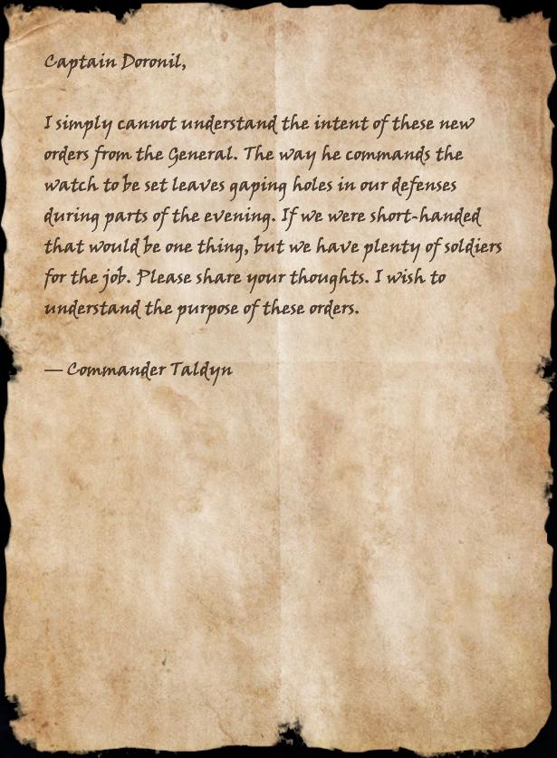 Memo to Captain Doronil